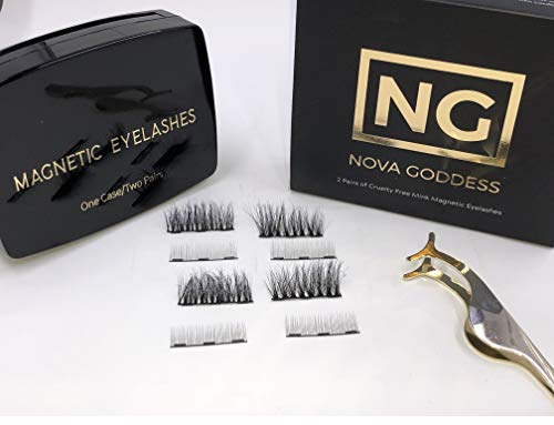 Magnetic Eyelashes Made of Cruelty Free 3D Mink, Two Sets of Resuable, Extreme Looking Lashes for Large Eyes. GET FREE APPLICATOR TWEEZERS ($8 Value). SEE INSTRUCTIONAL VIDEO BELOW!