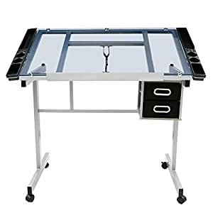 Go2buy adjustable drafting drawing table for Rolling craft table with storage