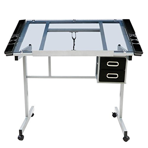 go2buy Adjustable Drafting Drawing Table Rolling Drafting Desk Tempered Glass Top w Storage Drawers