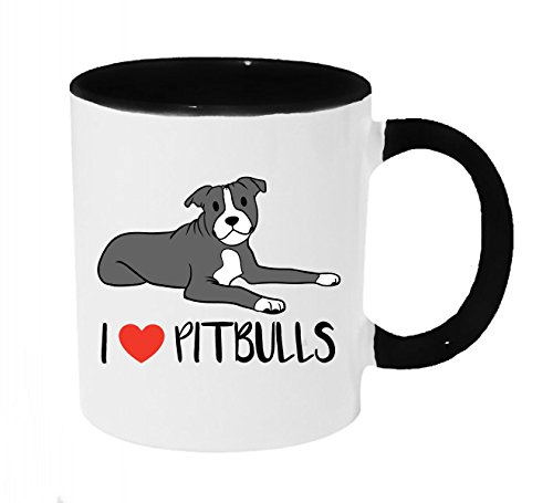 I Heart Pitbulls Coffee or Tea 11oz Mug - Perfect Gift for Dog and Animal Lovers (Blue and White Pit) by Dark Spark Decals