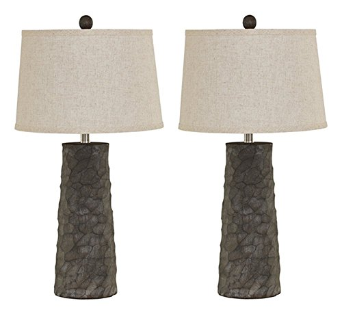 Ashley Furniture Signature Design - Sinda Table Lamp - Poly Resin - Set of 2 - Wood Finish