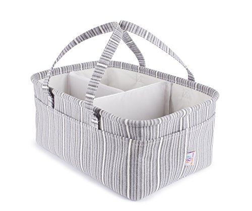 We Care Vida Diaper Caddy Organizer | Baby Registry Must Haves | Large, Nursery Storage Bins | Best Baby Shower Gifts Idea for Boy, Girl and Twins | Toy Storage | Gray Striped by We Care Vida