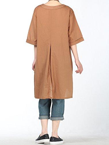 Femmes Dconatracte D't Vogstyle Courtes Manches Robe Elgante Noisette Chemise Tunique Longue SqBw1dq