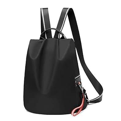 Backpack Purse for Women Waterproof Nylon Anti-theft Fashion Lightweight Travel Shoulder Bag (Black)