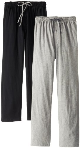 Hanes Men's Solid Knit Jersey Pajama Pant, Black/Light Heather Grey, Large (Pack of 2)