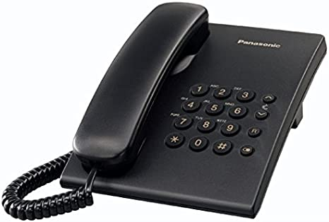 Panasonic KX-TS500 - Teléfono fijo con cable (tono configurable, montable en pared, compatible con audífonos), color negro