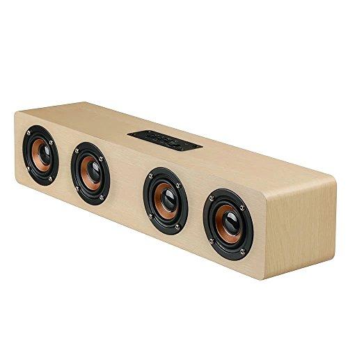Vacio inalámbrico Bluetooth speakerstf tarjeta AUX Subwoofer altavoz portátil para TV Cine en casa 3d madera barra de...