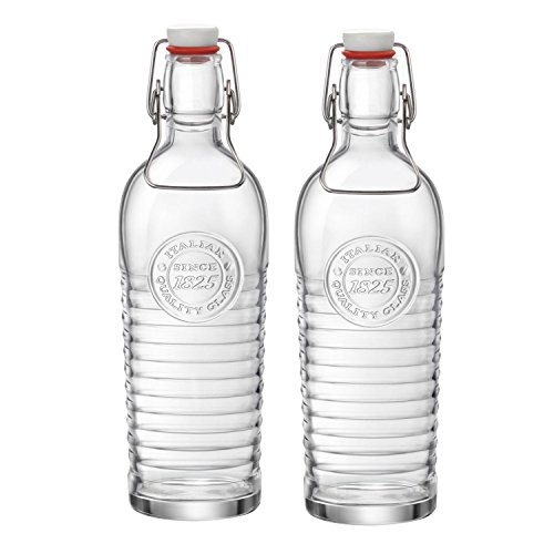 Bormioli Rocco Officina 1825 Embossed 40 Ounce Glass Bottle, Set of 6