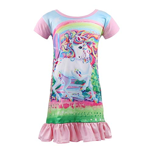Kid Girls Unicorn Night Dress, Rainbow Princess Nightgowns Pajama, Short Sleeve Sleepwear Nightie (unicorn2, 8-9 Years)