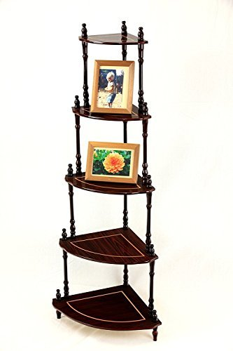 Uniware 5 Tier Antique Wood Corner Stand, 51-Inch High, Eucalyptus wood