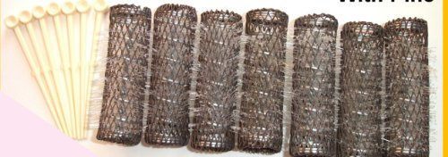 2 Packs (14 total) MEDIUM BRUSH ROLLERS & PINS Hair Curlers Bristles 2 1/2'x 3/4' NEW