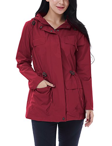 Vessos Women Hooded Waterproof Outdoor Raincoat Rainwear Rain Jacket Windbreake Wine Red