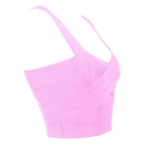 HLBandage Women Knitted Elastic Bandage Vest Tops Rosa