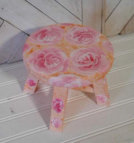 Custom Made Floral Decorated Mini Plant Stand Or Stool Available With A Variety Of Flowers 6 Inches In Diameter Small Stool 4 Legged Too Small For A