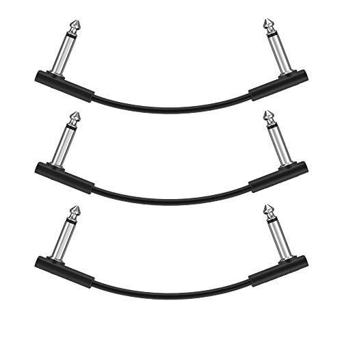 Donner 15cm Guitar Effect Pedal Cable Flat Patch Cable Black 3-Pack