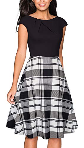 VELJIE Womens Cowl Neck Printed Wear to Work Party Dresses(Black+Checks,6)