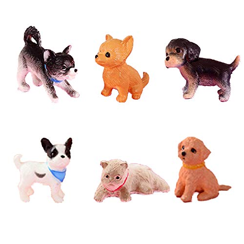YOUOR 6pcs Simulation Mini Cat Dog Model Figurines Animals Miniature Pet Puppy Doll Toys -