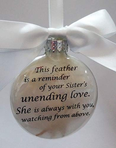Loss of Sister Memorial - This Feather is a Reminder - In Memory Christmas Ornament - Personalized Keepsake Bauble - Sympathy Gift