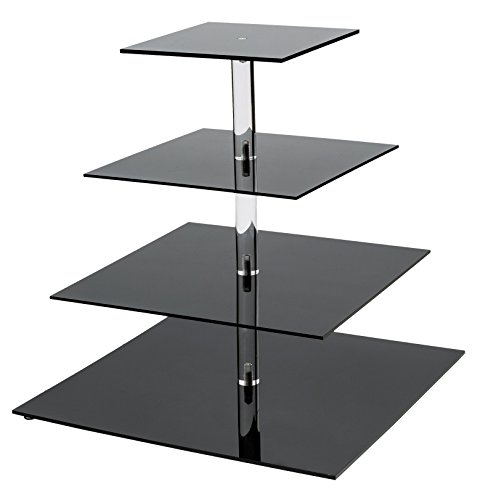 SinoAcrylic 4 Tier Square Cupcake Stand With Fantastic Plate - Dessert Display Holders - Black Stacked Party Cupcake Tree - Tiered Cake Stand - Cupcake Tower for Parties Birthday]()