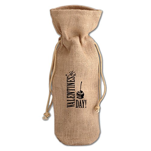 Style in Print Valentines Day Burlap Wine Drawstring Bag