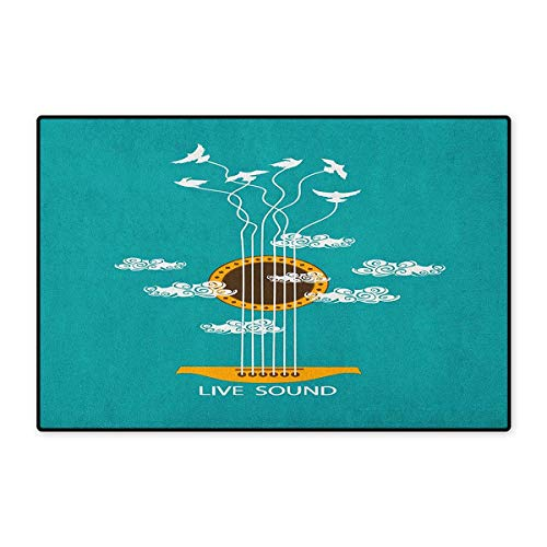 Guitar,Door Mats Area Rug,Abstract Music Themed with Birds on Strings and Clouds Illustration,Door Mat Doorroom Mat with Non Slip,Turquoise Marigold White,Size,24
