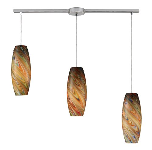 Elk Vortex 3 Light Pendant In Satin Nickel And Rainbow Glass - 10079/3L-RV (3 Pendant Light Vortex)