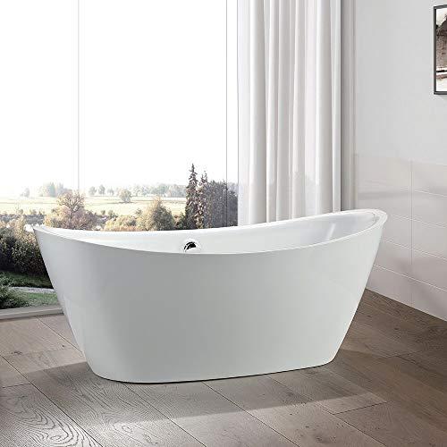 Vanity Art 71 inch Freestanding Acrylic Bathtub | Modern Stand Alone Soaking Tub with Chrome Finish, UPC Certified, Round overflow & Pop-up Drain - VA6807 ()