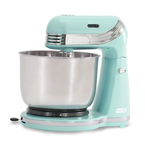 Dash Stand Mixer (Electric Mixer for Everyday Use): 6 Speed Stand Mixer with 3 qt Stainless Steel Mixing Bowl, Dough Hooks & Mixer Beaters for Dressings, Frosting, Meringues & More - Aqua (Bakery Jar Cookie The)
