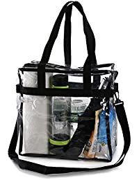 Clear Tote Bag NFL Stadium Approved - Shoulder Straps and Zippered Top. Perfect Clear Bag for Work, School, Sports Games and Concerts. Meets NFL and PGA Tournament Guidelines. (12 x 12 x 6 Inches)