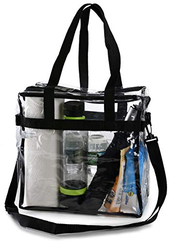 "Clear Tote Bag NFL Stadium Approved - 12"" X 12"" X 6"" - Shoulder straps and zippered top. The clear bag is perfect for work, school, sports games and concerts. Meets NFL and PGA Tournament guidelines."