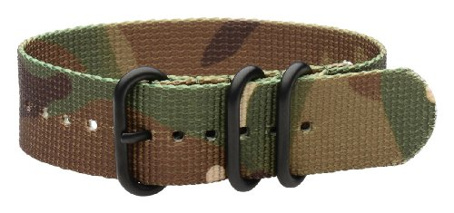 Clockwork Synergy - 3 Ring Heavy NATO PVD Black Watch Strap Bands (20mm, Army CAMO)