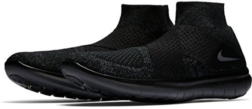 NIKE Mens Free RN Motion Flyknit 2017 Running Shoe Black/Dark Grey-Anthracite-Volt 11.0 (Motion Lace)