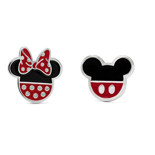 Disney Sterling Silver Mickey and Minnie Mouse Enamel Stud Earrings