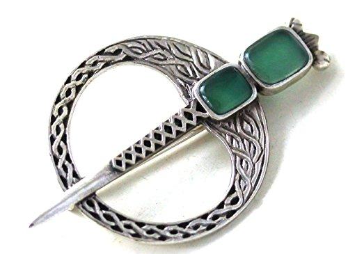 LynnAround 925 Sterling Silver Green Agate Celtic Tara Brooch Fastener - Cloak Shawl Scarf Pins, Norse Jewelry