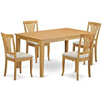 East West Furniture CAAV5-OAK-C 5 Piece Kitchen Table and 4 Dinette Chairs Small Set