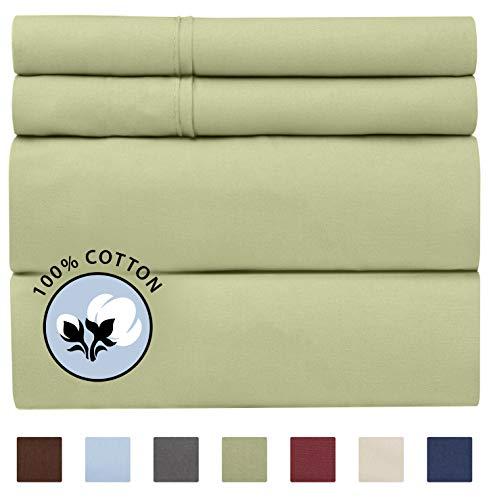 100% Cotton Cal King Sheets Sage Green