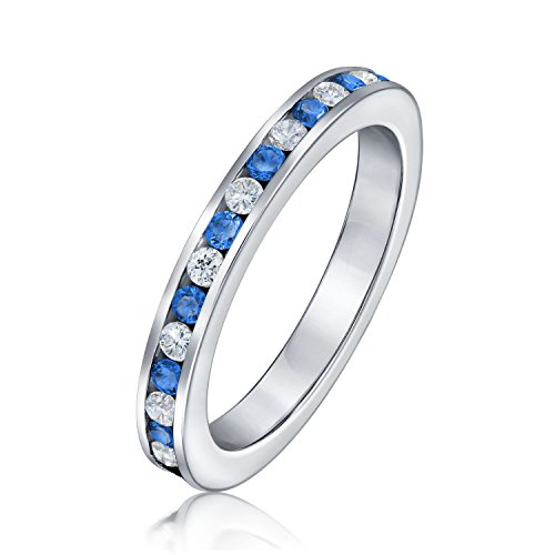 Blue White Alternating Stackable CZ Channel Set Eternity Band Ring Simulated Sapphire For Women For Teen Sterling Silver