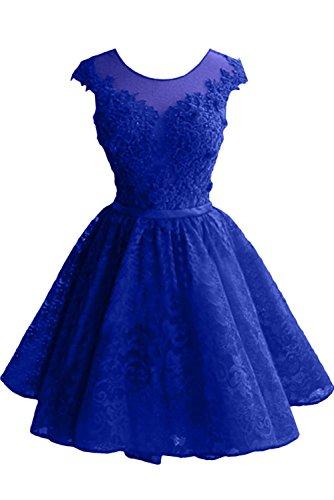 Festkleid Kurz A Damen Promkleid amp;Tuell Spitze Abendkleid Rundkragen Königsblau Partykleid Carnivalprom Linie qY1fzF