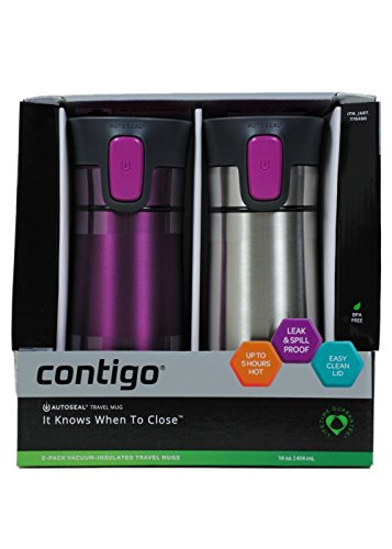 Contigo Pinnacle Travel Mug 2 Pack Stainless Steel/Radiant Orchid 14 OZ