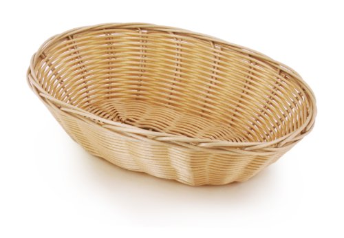 Wicker Bread Baskets - New Star Foodservice 44225 Food Serving Baskets 9.5 x 6.5 x 2.75 inch Oval, Hand Woven, Polypropylene, Set of 12, Natural