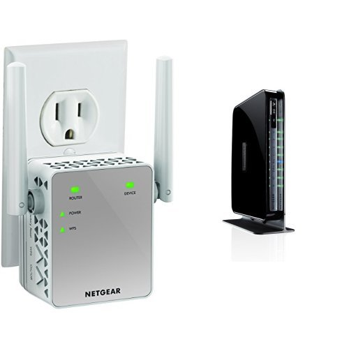 NETGEAR N750 Dual Band Wi-Fi Gigabit Router (WNDR4300) and AC750 Wi-Fi Range Extender (EX3700-100NAS) (N750 Netgear Wireless Router)