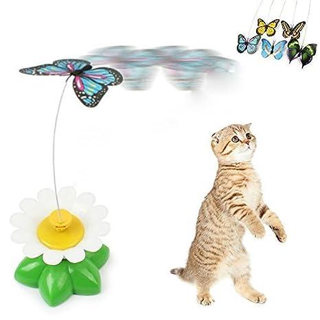 Jasper mariposa juguete para gatos eléctrico giratorio volando divertido mariposa gato juguete para mascota gato: Amazon.es: Productos para mascotas