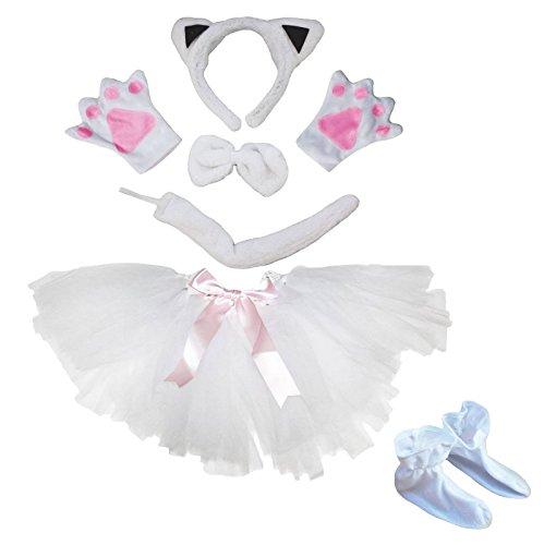 Petitebella White Cat Headband Bowtie Tail Glove Shoes Tutu 6pc Costume for Girl (One Size) (White Cat Costume Child)