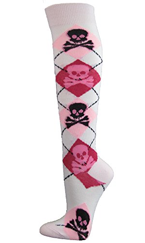 Skull Pattern Fashion Women/Ladies Stylish Argyle Knee High Socks - White/Light Pink/Hot Pink - Pink Skull Knee Socks