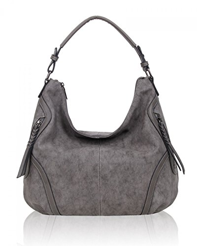 Shoulder For Work LeahWard Leather Faux GREY Bag Handbags Women's D Bags Holiday 5wY1qB