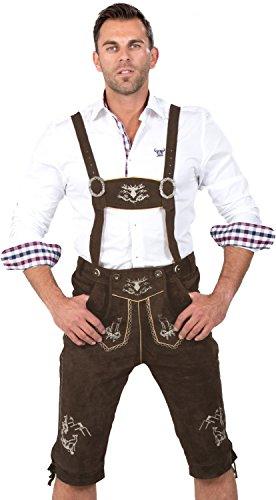 Almwerk Herren Trachten Lederhose Kniebund Modell Platzhirsch, Farbe:Braun;Lederhose Größe Herren:48