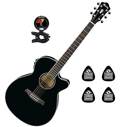 Ibanez AEG10NIIBK Right Handed 6 String Classical Acoustic Electric Guitar with Ibanez AEQ-SP1 Preamp with Onboard Tuner Guitar Package with Clip on Guitar Tuner and 4 Zorro Sounds Guitar Pick - Black (Ibanez Nylon Cutaway Guitar)