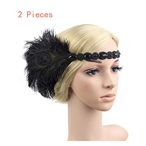 Naiflowers Headbands for Girls, 20S Feather Flapper Headband Vintage Elegant Headpiece Great Gatsby Headdress Bridal Prom Headdress for women ()