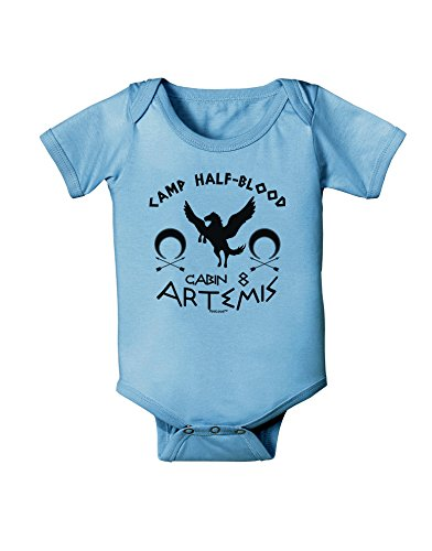 - TooLoud Camp Half Blood Cabin 8 Artemis Baby Romper Bodysuit - Light Blue - 12 Mos