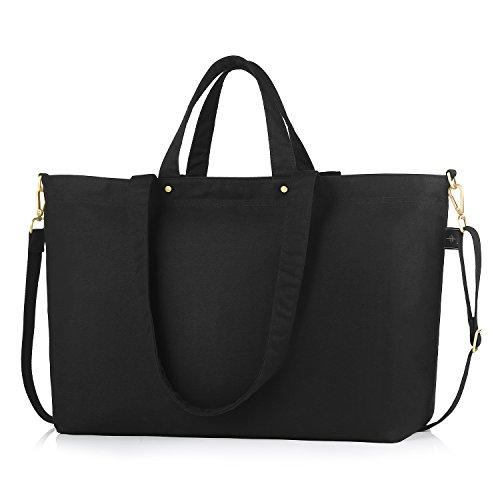 BONTHEE Canvas Tote Bag Handbag Women Large Shopper Shoulder Bag for School Travel Work - Black_XL